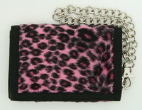 Leopard pink fluffy with chain wallet
