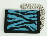Zebra blue fluffy with chain wallet