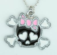 Cute skull bone bl-pink skull necklace