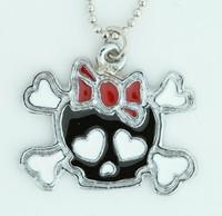 Cute skull bone Bl-red skull necklace