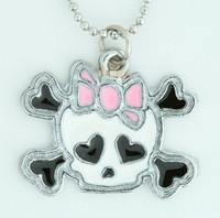 Cute skull bone white-pink skull necklace