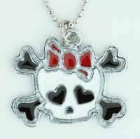Cute skull bone white-red skull necklace