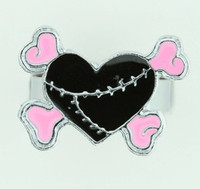 Heart bone black-pink sweet ring