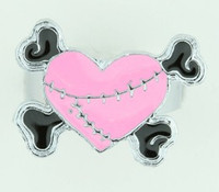 Heart bone pink-black sweet ring