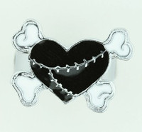 Heart bone black-white sweet ring