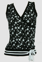 Front - Star black-white top fashion top