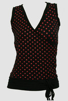 Front - Dot big black-red top fashion top
