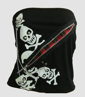 Front - PUB zip scotch skulls top punk top
