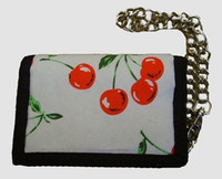 Cherry black cotton mixed with chain wallet