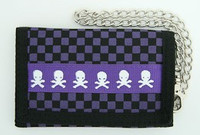 Check skull purple mixed with chain wallet