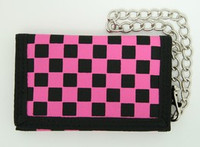 Check pink mixed with chain wallet