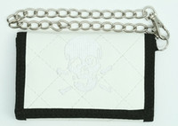 Skull plain white embroidery with chain wallet