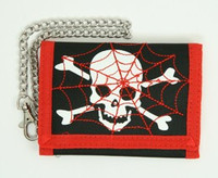 Skull spiderweb red embroidery with chain wallet