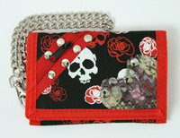 Skull net red embroidery with chain wallet
