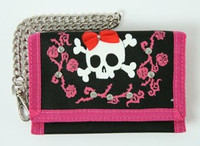 Skull lace pink embroidery with chain wallet