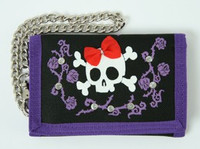 Skull lace purple embroidery with chain wallet