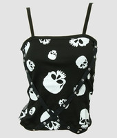 Front - PUS skulls black-white top punk top