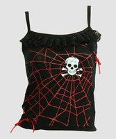 Front - PUS spider lace red top punk top