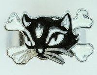 Cat bone black-white animal ring