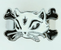 Cat bone white-black animal ring