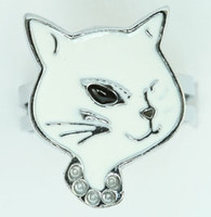 Cat white animal ring