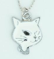 Cat white animal necklace