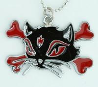 Cat bone black-red animal necklace