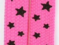 Star S pink-black star shoelace
