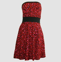 Front - DB leopard red strapless pin up
