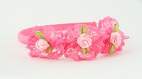 BB lace flower D pink big bow