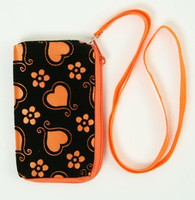Heart flower orange mobile bag