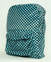 Check blue fluffy rucksack
