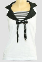 Front - TS V stripe white top sailor top