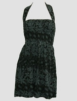 Front EB punk flower black-grey elastic dress