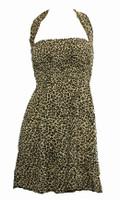 Front EB leopard L brown elastic dress