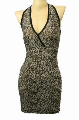 Front - S lace leopard brown S sexy dress