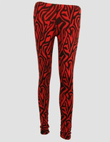 F zebra red fashion legging