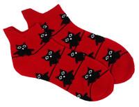 Big eyed owl socks red