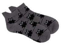 Big eyed owl socks grey