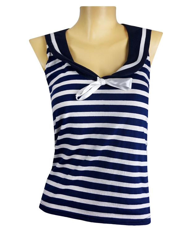 Front - Blue white stripes and white bow navy sailor top
