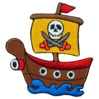 Cute Pirate Boat - Deadly Skull & Crossbones Big Patch