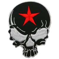 Black skull with red star