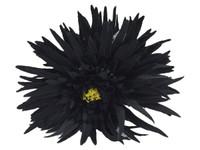 Black daisy double hair flower clips