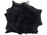 Black rose double hair flower clips