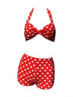 Dots big on red bikini pin up