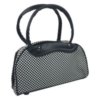 Small cute checkers black - white bowling bag