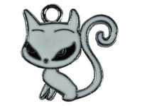 Cat long tail white necklace pendant