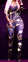 Three quarter sleeve gold chains printed catsuit