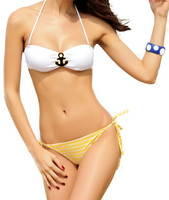 Navy anchor beach white and yellow sexy