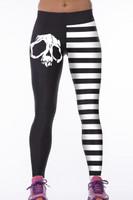 Front - White stripe skull digital print elastic sports yoga pants
